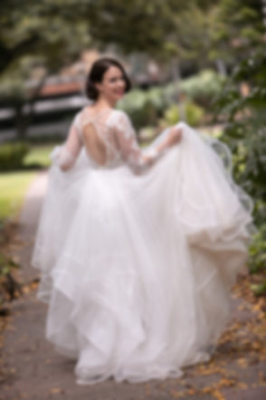Bride in Hyde Park, Sydney. Wedding photography by best sydney wedding photographer, Grant Hoskinson Photographer.