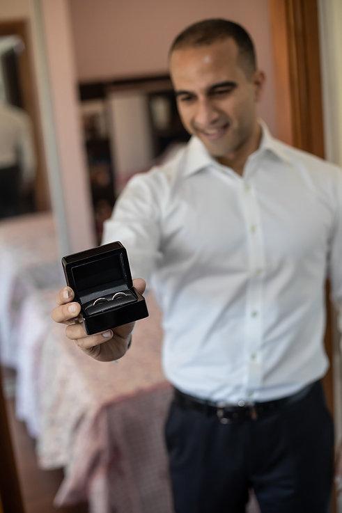 Wedding rings. Groom getting ready. Wedding photography by best Sydney wedding photographer, Grant Hoskinson Photography. Bride's gown by Steven Khalil. Wedding Reception at Doltone House Jones Bay Wharf.