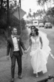 Bride and groom on the road.