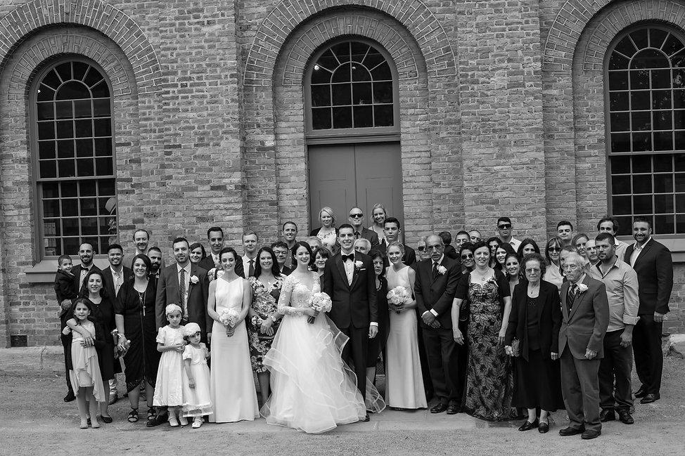 Group shot at wedding ceremony at Hyde Park Barracks. Wedding photography by best sydney wedding photographer, Grant Hoskinson Photography.