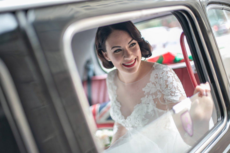 Bride in wedding car arriving at wedding ceremony. Wedding photography by best sydney wedding photographer, Grant Hoskinson Photography.