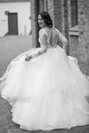 Bride and back of the bride's gown at Hyde Park Barracks. Wedding photgraphy by Sydney wedding photographer Grant Hoskinson Photography.