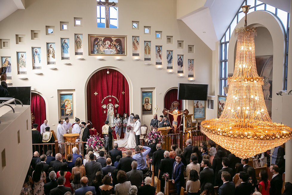 Bride and groom during Egyptian Coptic wedding ceremony. St Mary and St Merkorious Coptic Orthodox church. Photography by best Sydney wedding photographer Grant Hoskinson Photography.