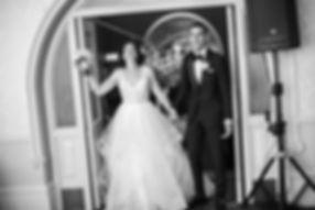 Bride and groom entering wedding reception. Wedding reception. QVB Tea Room.
