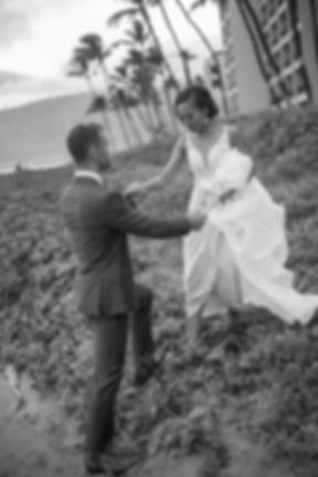 Bride and groom on the beach.Wedding reception. Sugar Beach Events. Maui, Hawaii.