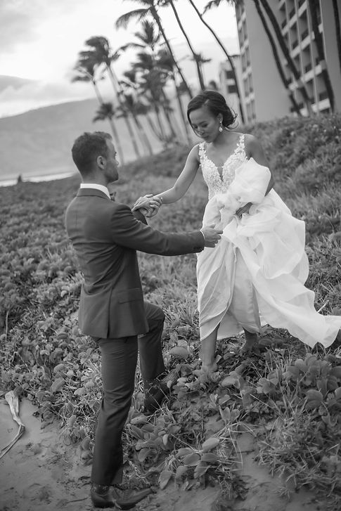 Bride and groom on the beach. Sugar Beach Events. Maui, Hawaii. Wedding Photogaphy by Grant Hoskinson Photography. Sydney.