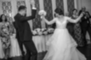 Bride and groom dancing. Wedding reception. QVB Tea Room.