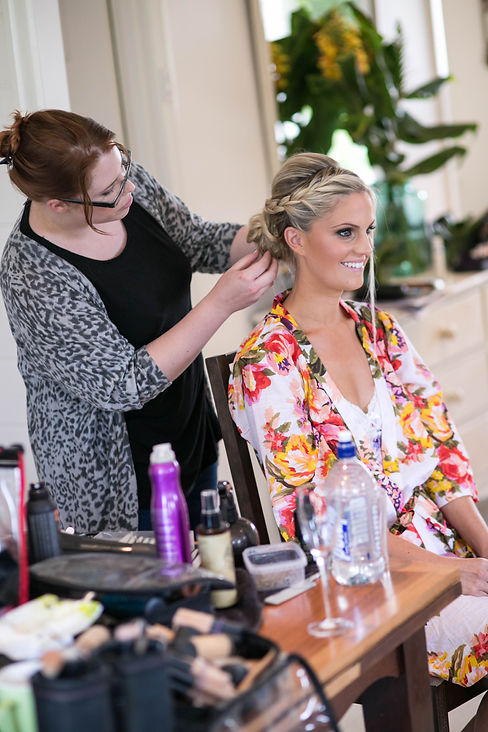 BrideBride getting her makeup done. Photography by Sydney wedding photographer, Grant Hoskinson Photography.