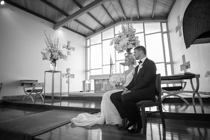 Bride and groom at the wedding ceremony at HMAS Watson Chapel. Wedding photography by best Sydney wedding photographer, Grant Hoskinson Photography.