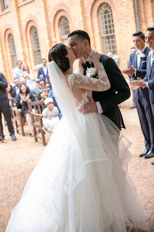 Kiss the bride. Wedding ceremony at Hyde Park Barracks. Wedding photography by best wedding photographer sydney, Grant Hoskinson Photography.