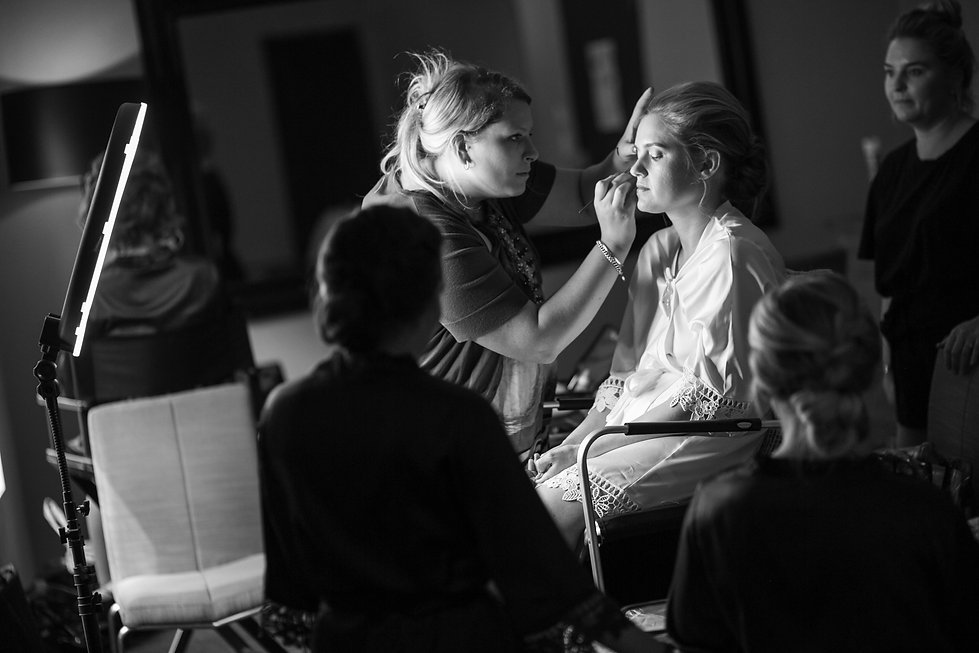 Bride getting her make up done at Gibraltar Hotel, Bowral. Wedding photography by best sydney wedding photographer, Grant Hoskinson Photography.
