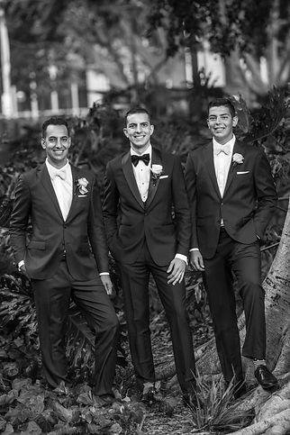 Groom with Groomsmen in Hyde Park, Sydney. Wedding photgraphy by Sydney wedding photographer Grant Hoskinson Photography.