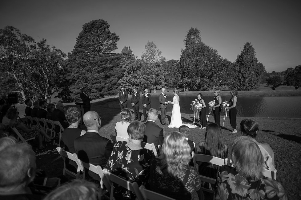 Outdoor wedding ceremony at Gibraltar Hotel, Bowral. Wedding photography by best sydney wedding photographer, Grant Hoskinson Photography.