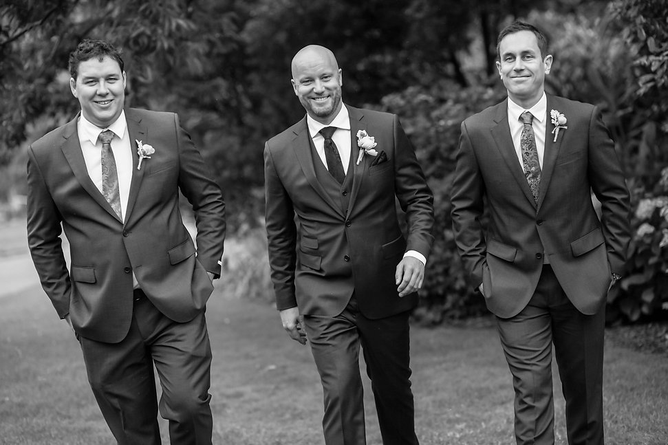 Beautiful wedding photography by popular wedding photographer, Grant Hoskinson Photography. Groom with groomsmen.  Royal Botanic Gardens, Melbourne.