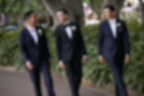Groom with groomsmen at Hyde Park, Sydney. Wedding photography by best sydney wedding photographer, Grant Hoskinson Photography.