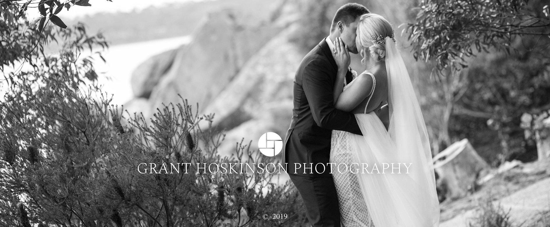 Bride and groom kissing. Sydney wedding photographer Grant Hoskinson Photographer.
