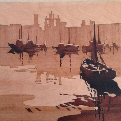 Boats and ruins (after C Buckle) Three veneers