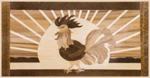 Dawn Rooster. A graphic 3 veneer by Janet McBain