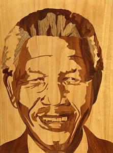 Nelson Mandela in three veneers by Les Dimes