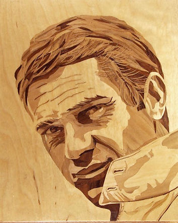Marquetry picture in three veneers  of a Steve McQueen