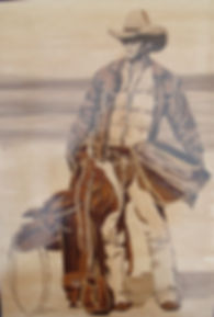 Harrow Marquetry Group picture of a cowboy