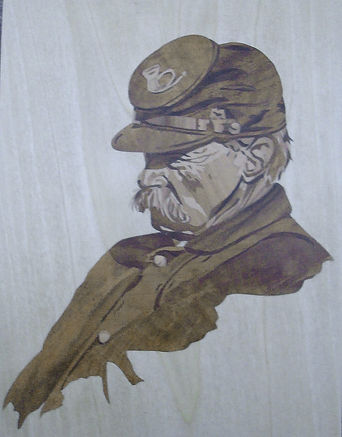 Marquetry picture in three veneers  of a US Army soldier