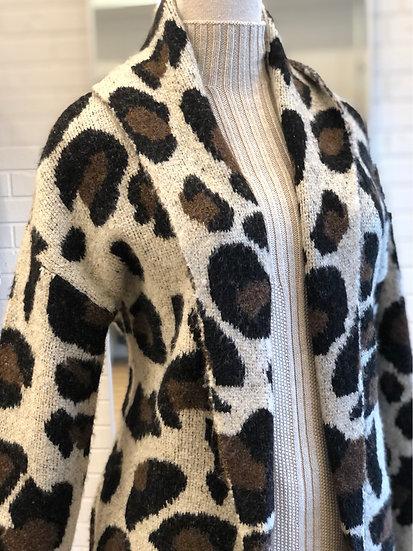 Cheetah Sweater Coat
