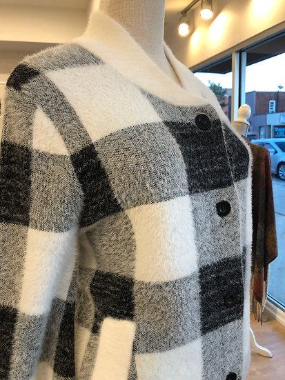 Black/White Check Sweater Bomber