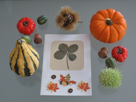 October decoration with a four-leaf clover