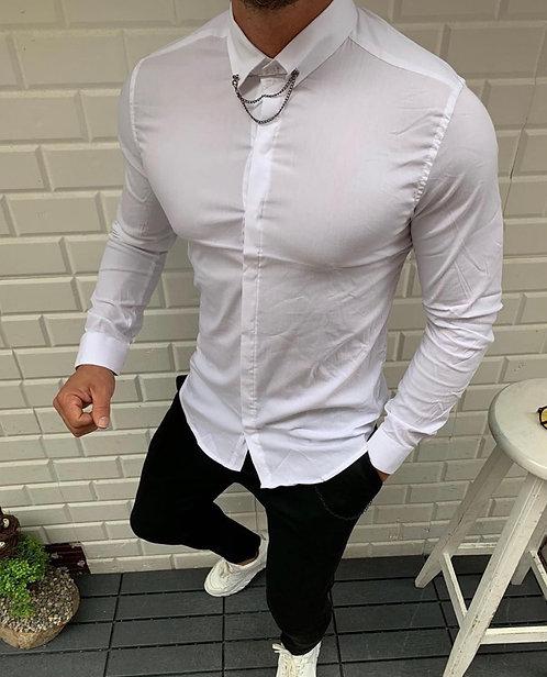 Slim Fit Likralı Yaka Zincirli Gömlek