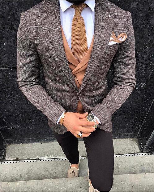 Slim Fit Nubuk Yelekli Kombin Takım Elbise