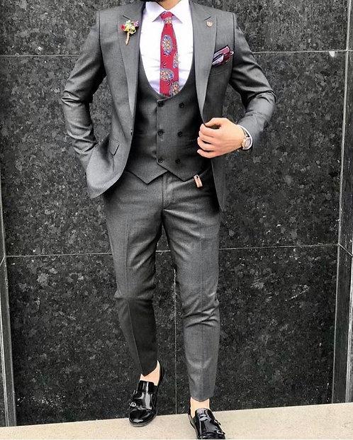 Slim Fit Yelekli Takım Elbise