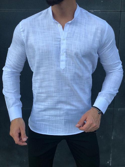 Slim Fit Likralı Hakim Yaka Keten Gömlek