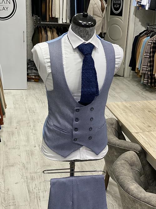 Slim Fit Likralı Yelek Pantolon Set