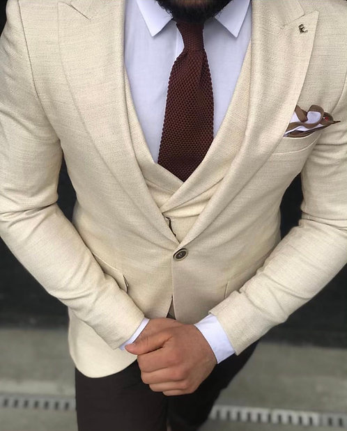 Slim Fit Yelekli Kombin Takım Elbise