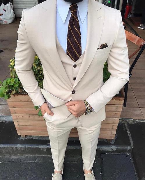 Slim Fit Premium Kumaş Yelekli Takım Elbise