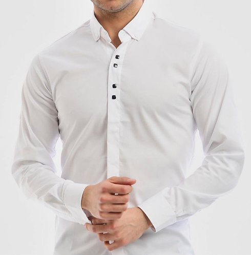 Slim Fit Likralı Metal Düğmeli Gömlek