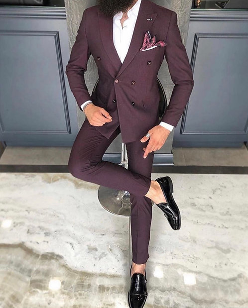 Slim Fit Kruvaze Takım Elbise