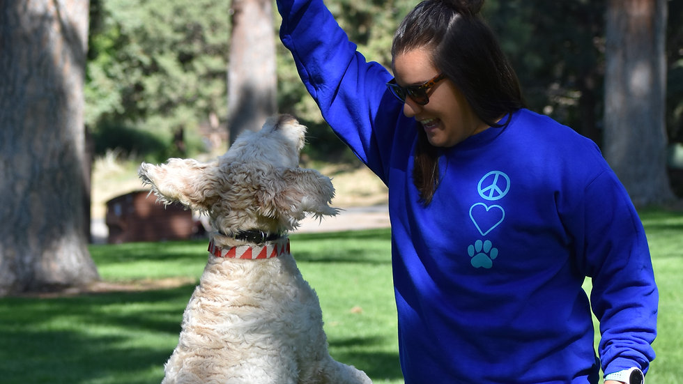 Peace, Love, Dog crew neck