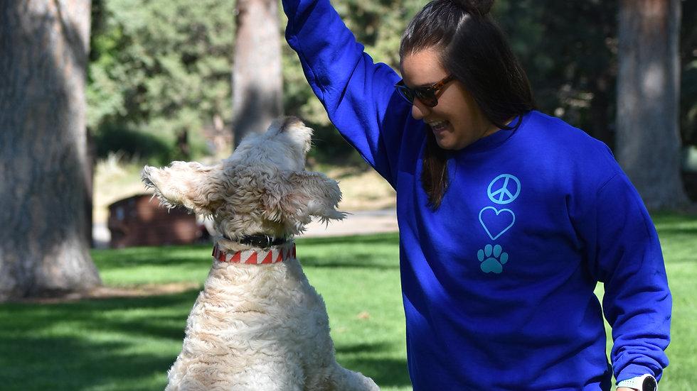 Peace, Love, Dog crew neck
