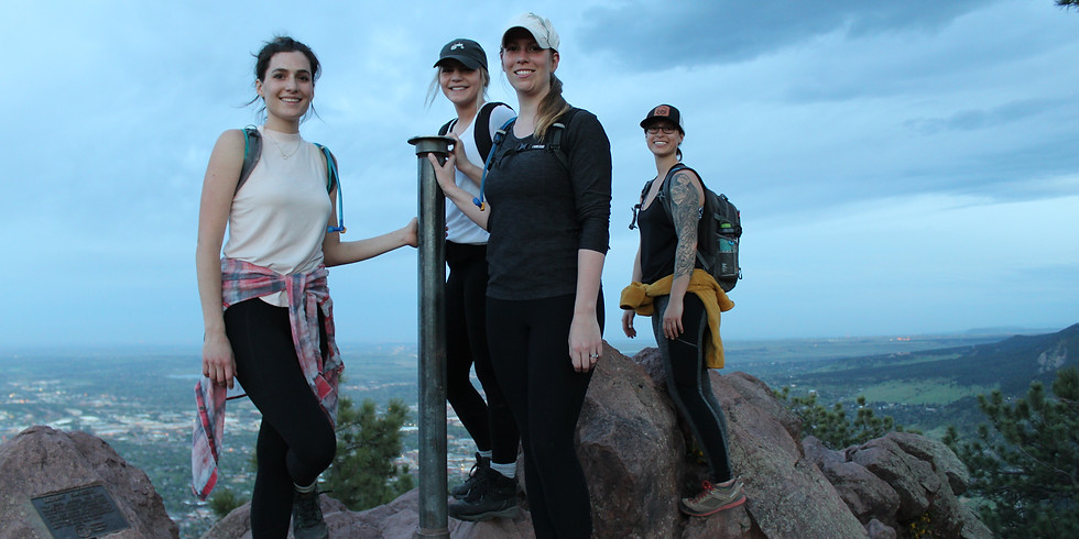 Sunset on the Flatirons with Boulder Hiker Chicks