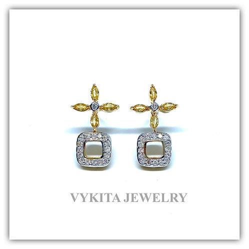 18K Yellow Sapphire Diamond Earrings