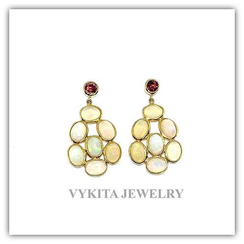 18K Opal Tourmaline Earrings