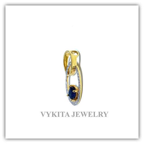 18K Sapphire Diamond Pendant