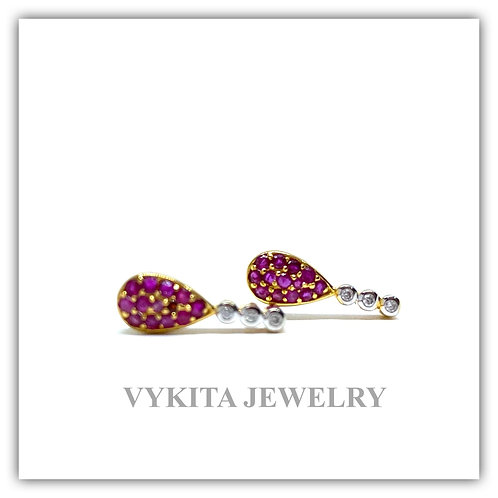 18K Ruby Diamond Earrings