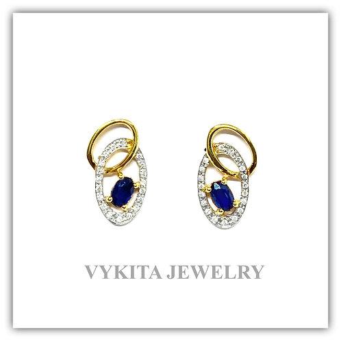 18K Sapphire Diamond Earrings