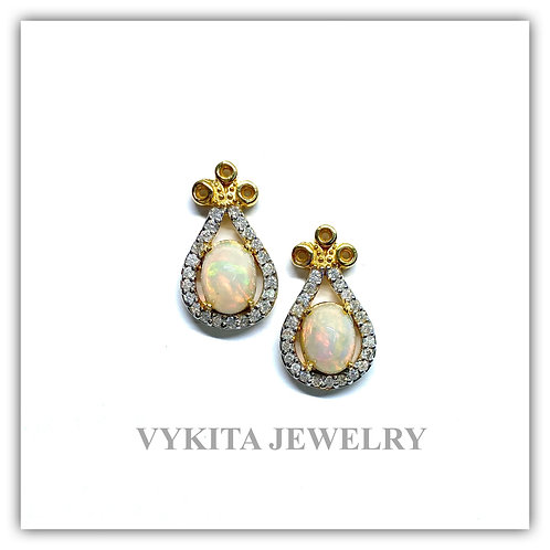 18K Opal Diamond Earrings
