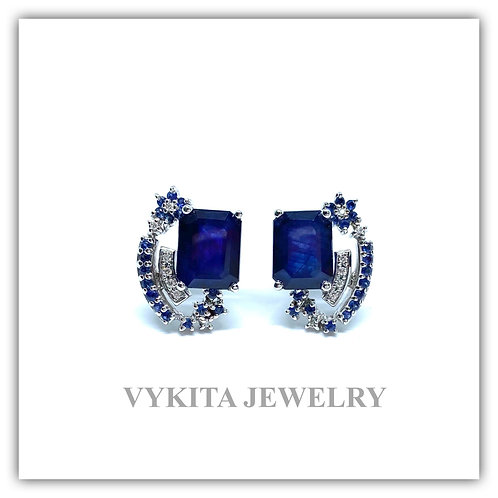 18K Sapphire Diamond Earrings