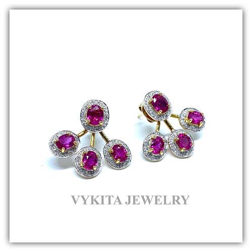 18K Ruby Diamond Earrings