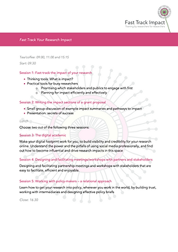 Agenda - Fast track your research impact